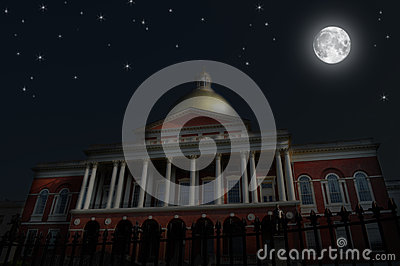 Night Scene, Massachusetts State House