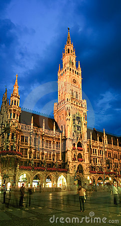 The night scene of Munich town hall Editorial Photography