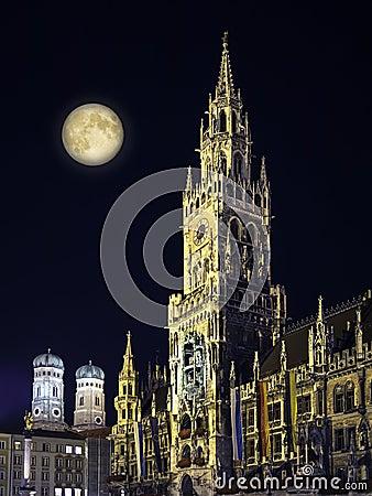 Night scene Munich Town Hall and moon