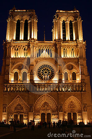 Night Scene at Notre Dame in Paris France Editorial Photography