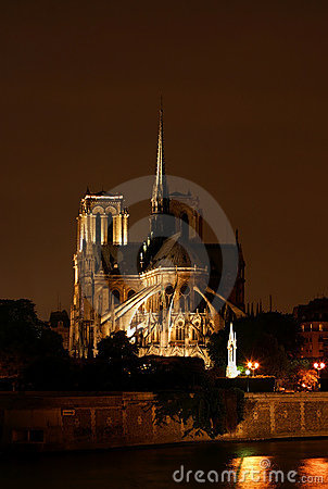 Night Scene at Notre Dame in Paris France
