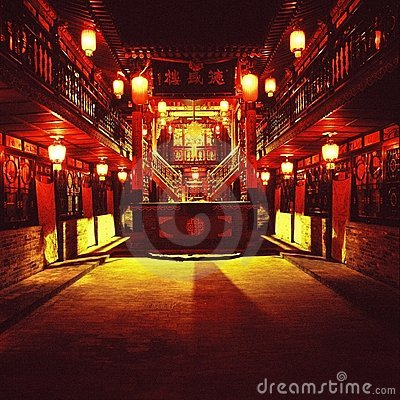 Free Night Scene Of A Chinese Courtyard Royalty Free Stock Images - 10435549