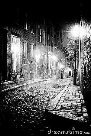 Night scene in old boston massachusetts