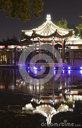 Night scene of pavilion reflection