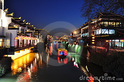 Night scene of Qinhuai river in Nanjing China