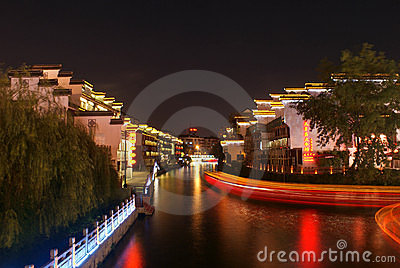 Night scene of Qinhuai river in Nanjing city