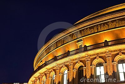 Night scene of Royal Albert Hall in London