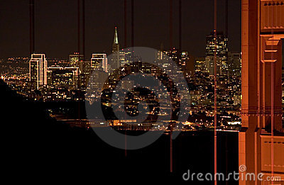Night scene of San Francisco skyline and the Golden Gate Bridge