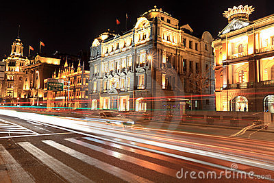 Night scene of shanghai bund