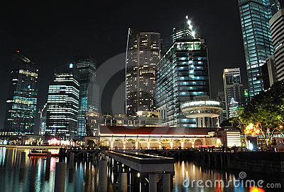A night scene of Singapore skyline and river
