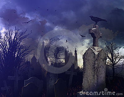 Night scene in a spooky graveyard