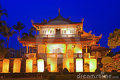 Night Scene of Tainan Chihkan Tower in Taiwan