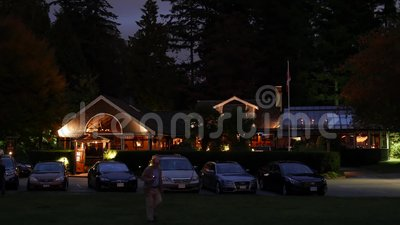 Night scene Teahouse restaurant at Stanley Park. In Vancouver BC Canada stock video footage