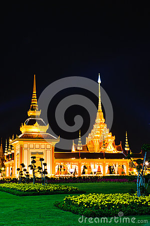 Night scene of Thai Royal Crematorium