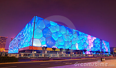 Night scene of water cube Editorial Stock Image