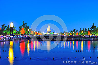 Night scenes  of Big wild goose pagoda