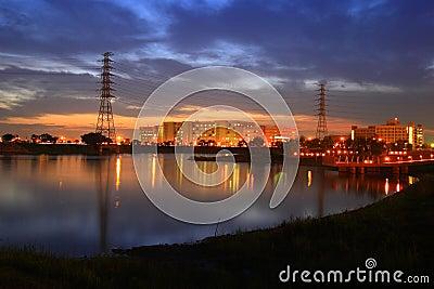 Night scenes of factory