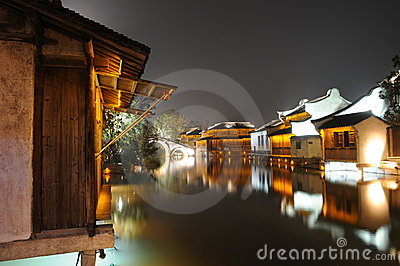 The night scenic of  watery town