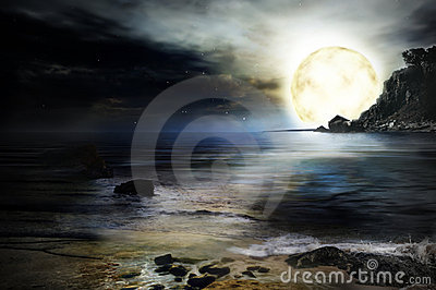 Night at sea  background