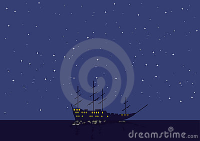 Night seascape with the vessel