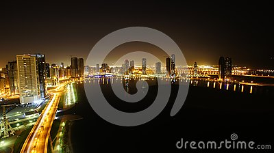 Night seen of Sharjah city on a lake