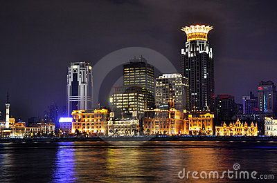 Night of Shanghai Bund and Huang-pu river, China