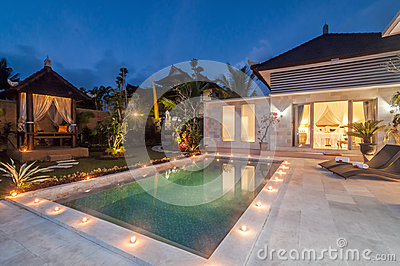 Night shoot luxury and private villa with pool outdoor for Garden city pool jobs