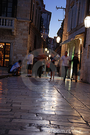 Night shopping in Dubrovnik, Croatia - blurred