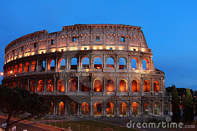 Night shot of colosseum in Rome