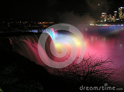 Night shot of Niagara Falls, American side