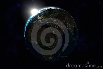 Night side of Earth, Europe, Africa, Asia
