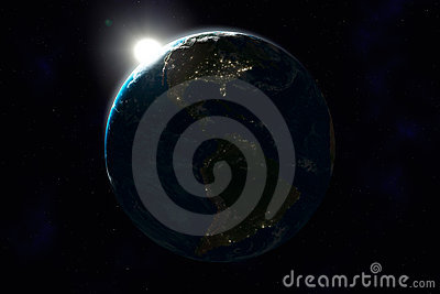 Night side of Earth, North and South America