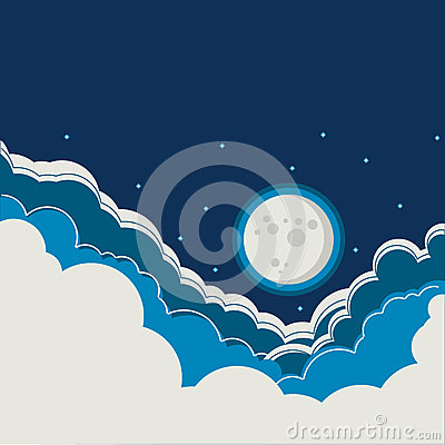 Night sky background with full moon and clouds Vector Illustration