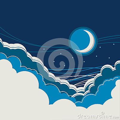 Night sky background with half moon and clouds Vector Illustration