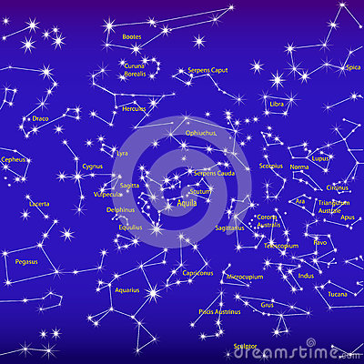 Night sky and constellations sign zodiac