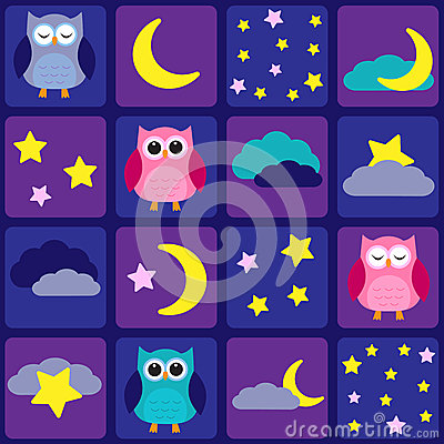 Night sky with owls