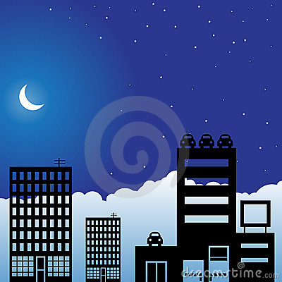 Night Sky Scene - City