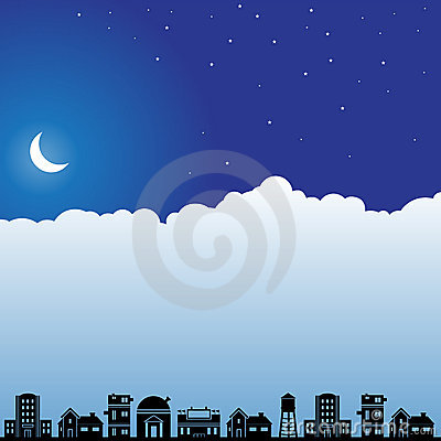 Night Sky Scene - Neighborhood