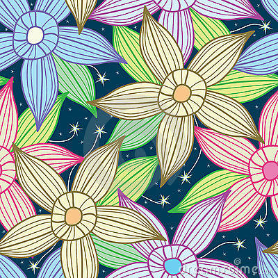 Night Sky Star Flower Seamless Pattern_eps