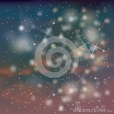 Night sky with stars and snow