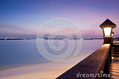 Night sky after sunset at a seaside beach resort
