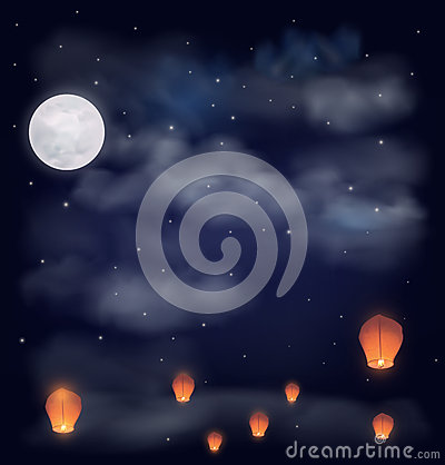 Free Night Sky With The Moon, Stars And Chinese Wish Lanterns Stock Image - 62180541
