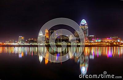 Night Skyline, Cincinnati, Ohio, editorial Editorial Stock Image