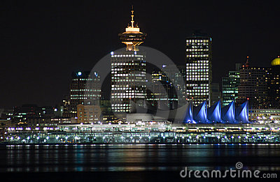 Night skyline of downtown vancouver