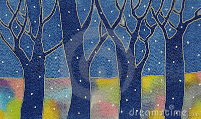 Night snow forest