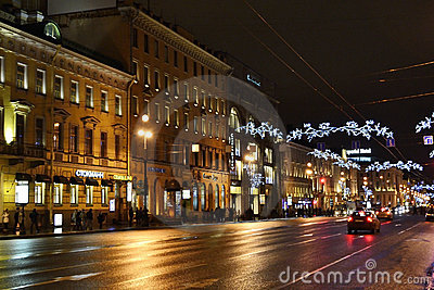 Night of St. Petersburg, Nevsky Prospekt Editorial Image