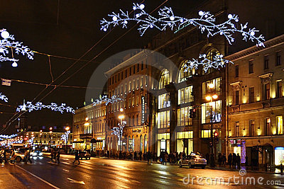 Night of St. Petersburg, Nevsky Prospekt Editorial Photo