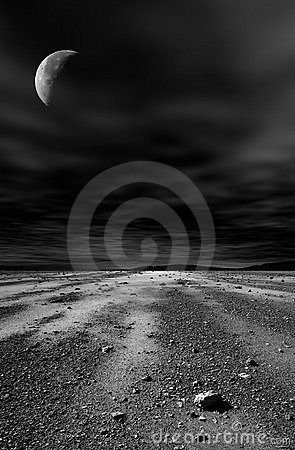 Night stony desert.