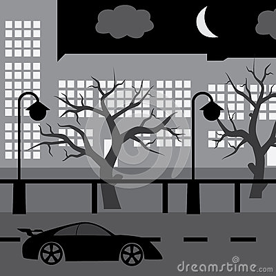 Night street with car, tree and buildings eps10