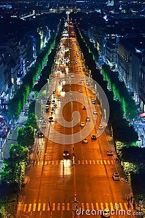 Night street. France. Paris.
